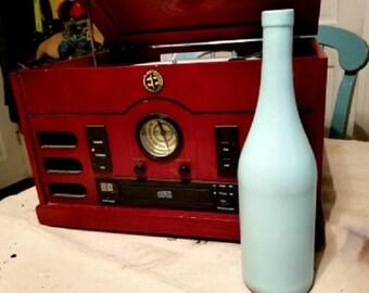 Aqua Wine Bottle Vase