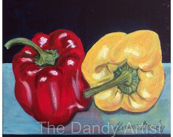 Red and yellow bell peppers, still life, original oil painting.