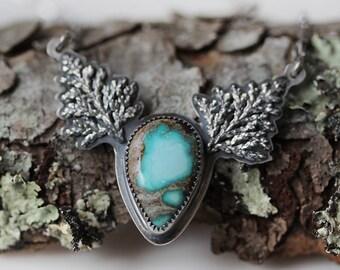 Natural Royston Turquoise Necklace/ Woodland Necklace/ Pine Necklace/ Fern Necklace/ Sterling Silver Turquoise Necklace