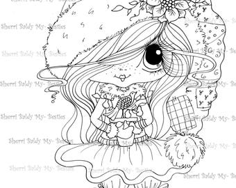 INSTANT DOWNLOAD Digital Digi Stamps Big Eye Big Head Dolls Digi  Img803 12 days of Christmas By Sherri Baldy
