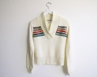 VINTAGE Sweater 1970s Womens Boucle Knit Top Small