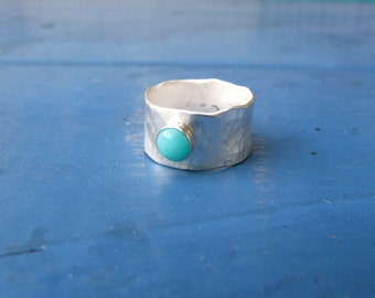 Textured Silver Band with Amazonite