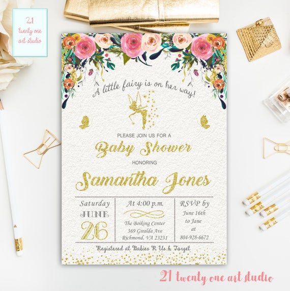 Fairy Baby Shower Invitation Floral Baby Shower Invitations