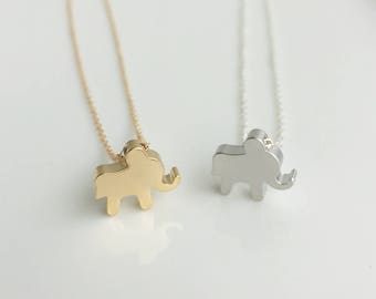 Gold Elephant Necklace, Elephant Charm Necklace, Elephant Jewelry, Gift idea