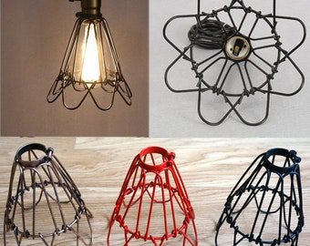 Wire lamp shade etsy iron wire bulb water lily cage lamp guard decoration shade for vintage light uk keyboard keysfo Images