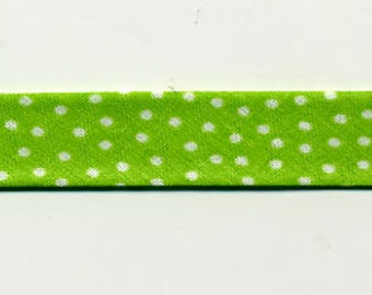 Lime green bias by the meter, small white polka dots, 100% cotton