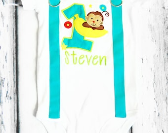 Boy first birthday Monkey themed bow tie  Suspenders Bow tie Banana First Birthday Zoo Monkey Boy Cake Smash Outfit Boy 1st Birthday
