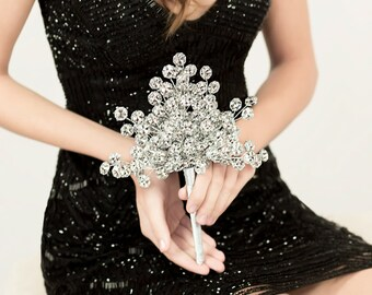 Wedding Bouquet - Bridesmaid Bouquet of Silver Mirrored Flowers - Fan Shaped Bridesmaid Bouquet - Wedding Ideas