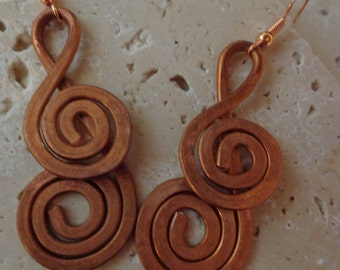 Hammered Copper Earrings, Recycled Copper Earrings, Boho Earrings, Woman's Earrings, Woman's Gift, Hammered Copper Coils, Free Shipping