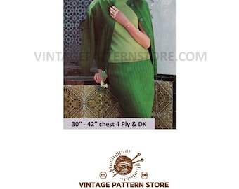 """Ladies 1960s seperates, cable polo neck sweater, cardigan & rib skirt in DK and 4 ply - 30"""" - 42"""" chest - Vintage PDF Knitting Pattern 1569"""