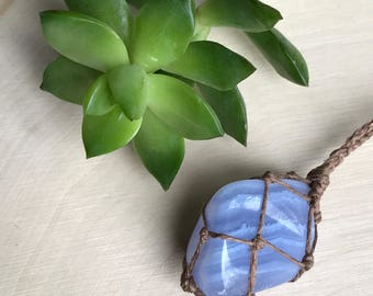 Blue Lace Agate Crystal Necklace - Healing Crystal Necklace - Hemp Wrapped Stone Jewelry - Pastel Blue - Hippie Bohemian Style Gypsy Soul