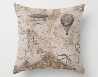 Steampunk Pillow - Throw Pillow maps and hot air balloons, steampunk decor, Vintage Maps, unique, brown