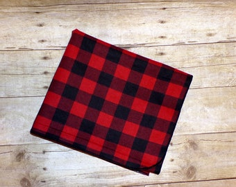 Red & Black Buffalo Plaid Receiving Blanket - Lumberjack Swaddle Blanket - Baby Boy Receiving Blanket - Flannel Blanket - Baby Photo Prop