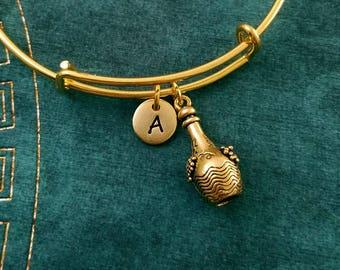 Wine Bottle Bracelet Wine Bangle Wine Jewelry Wine Bracelet Charm Bracelet Stackable Bangle Adjustable Bangle Personalized Initial Bracelet