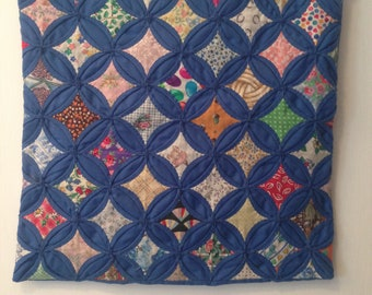 "Vintage Handmade Cathedral Window Pillow Sham W/Royal Blue Lattice And Multi-Colored ""Window Panes"" --15"" Square--Hand Quilted Pillow Sham"