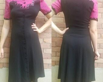 Vintage 1940's dress medium black pink sequin button up women's clothing dresses