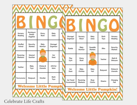 60 little pumpkin baby shower bingo cards 60 prefilled te gusta este artculo solutioingenieria Gallery