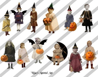 Digital Collage Sheet Vintage  Halloween Children PNG file available (Sheet no. H2) Instant Download
