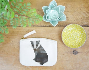 Badger Coin Purse, Change Purse, Coin Pouch, Zip Pouch, Canvas Purse, Organic Purse, Small Zipper Pouch, Badger Gift