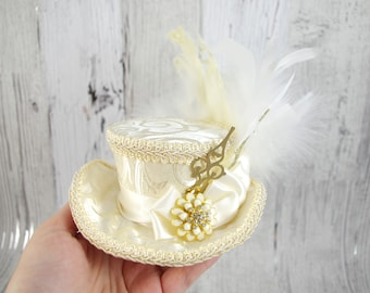 Ivory and Cream with Gold Clock Hands Steampunk Mini Victorian Riding Hat Fascinator, Marie Antoinette, Alice in Wonderland, Derby Hat