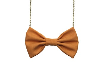 Dark Mustard Bow Tie Necklace, Mustard Yellow Casual Women Bowtie, Bridesmaids Accessory