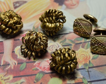 Antique Buttons,Victorian Wire Painted Gold , Gold filled Victorian Men's Cuff links Set ,Wrapped Knot Buttons