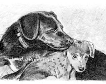Custom 4x6 Pet Portrait Graphite Pencil mom & pup