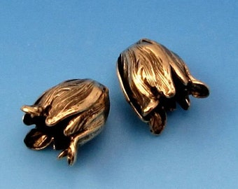 Small Flower Bead Cap, Antique Gold, 2 Pc. AG285