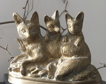 VINTAGE DECOR...brass statue wolf and cubs mother and kids-rustic home gift -unique decoration ~brass ~Mythology wildlife woodland art gift