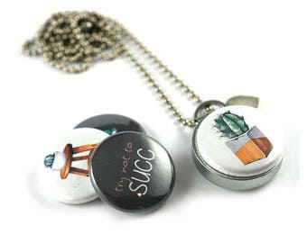 Succulent Jewelry • Succulent Locket Necklace • Cactus Jewelry • Magnetic 4 in 1 Set • Inspiration Jewelry • Try Not to Succ • Cacti Jewelry