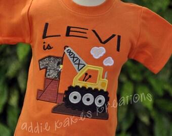 Personalized Crane Boys Birthday Shirt / Construction
