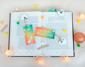 """Handmade motivational bookmark """"Hug your dog and read a book"""", funny dog bookmark, I love my dog bookmark, gift for doglover"""