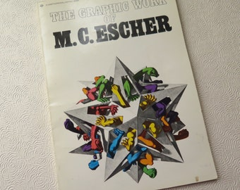 M.C. Escher Book Framable Prints 1970s Mid Century Mod Art Graphics Optical Illusion Dutch 1977 Eleventh Printing Meredith Press Art Book