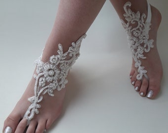 Bridal sandals, Ivory barefoot sandals , Lace sandals, Pearl wedding anklet, Beach wedding barefoot sandals,  Bridesmaid gift, Beach Shoes