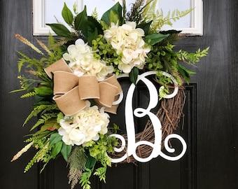 BEST SELLER! Spring Wreaths for Front Door, Front Door Wreaths, Fall Door Wreaths, Hydrangea Wreath, Grapevine Wreath, Farmhouse wreath