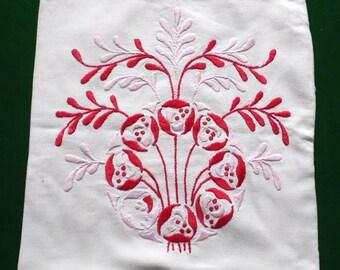 Vintage cotton floral PILLOWCASE hand embroidery pillow cover hand embroidered pillow with red and pink flowers