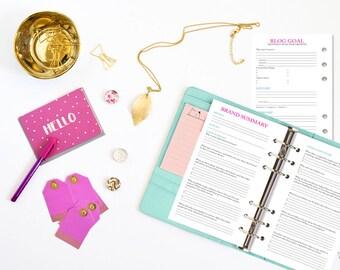 2018 Blog Planner kit - Bundle - Flower Blog Media Kit - Blogger - Freelancer - Organized Blogging - Instant Download - Printable PDF
