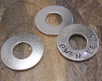 Hand Stamped Nickel Washer, Your choice of word(s)