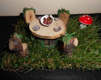 Fairy picnic table / handmade / woodland / toadstool / grass / shells