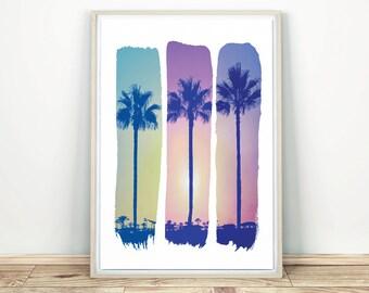 Palm Trees - Wall Art Decor, Tropical Print, Palm Tree Art, Modern Wall Art, Sunset Art, Palm Print, California Wall Art, Printable Poster