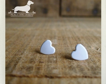DOLLAR DEAL! I Heart You. White Heart Post Earrings -- (Vintage-Style, White, Simple, Minimalist, Romantic, Love, Birthday Gift Under 5)
