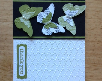 Stampin Up handmade thank you, all occasion card - green butterflies