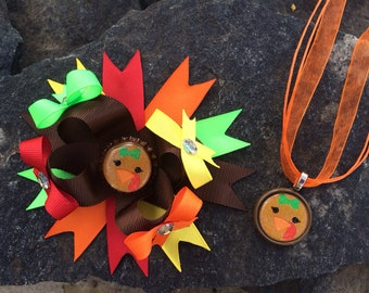 Thanksgiving Turkey Hairbow & Matching Necklace Set