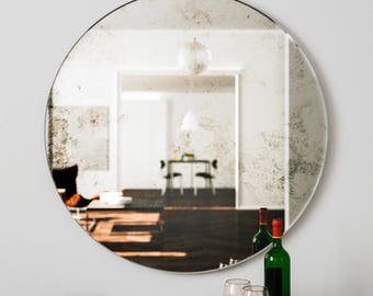 Large wall mirror. Unique round Art Deco hanging glass mirror. 1920s and 1930s style wall mirror with antiqued large glass frameless mirror