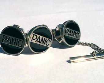 Panic Button matching cuff links & tie tack