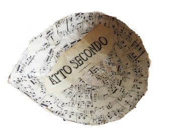 Paper Mache Bowl - Vintage Recycled Music Sheets