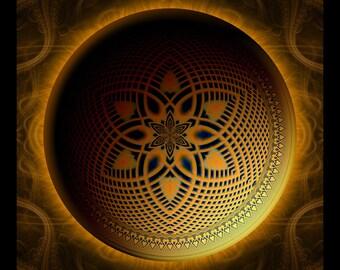 SOLAR MOON - Tapestry, Wall Hanging - Pumayana Visionary Art, Spiritual, Psy, Shamanic, Sacred Geometry, Entheogenic Psychedelic Art