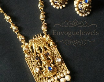 Temple necklace set, South Indian jewelry, Blue stone, Square pendant, Laxmi pendant, Bahubali necklace, Traditional Indian jewelry set.