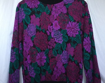 Vintage 1980s Floral Pattern Sweater ~ Size Medium