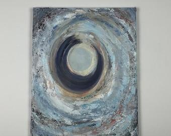 Original Abstract mixed media acrylic painting, Portal, blue, grey, wall art